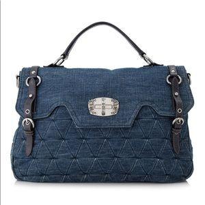 MIU MIU Quilted Denim Top Handle Shoulder Bag